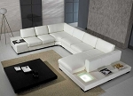 White Bonded Leather Sectional Sofa Set with Light